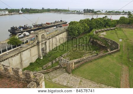View from the Ozama Fortress to the Ozama river delta in Santo Domingo.