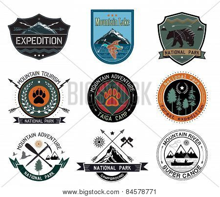 Set of vintage camping and outdoor activity logo. National parks and tourism symbol.