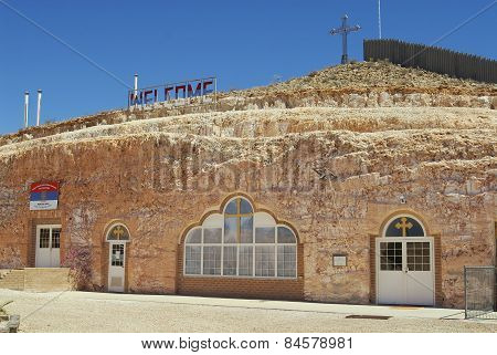 Exterior of the underground Serbian Orthodox Church in Coober Pedy, Australia.