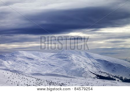 Winter Mountains And Storm Sky