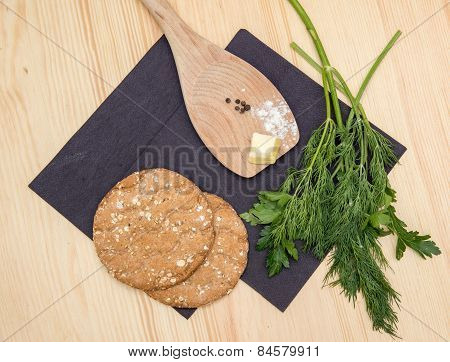 biscuits and a wooden spoon