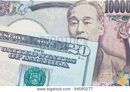 Japanese yen currency and dollar bank note