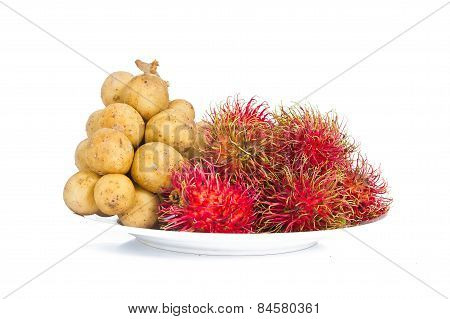 Lang sat or Long kong&Rambutan isolated on white background.