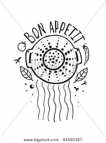 Bon Appetit Pasta Design with Colander and Lettering Monochrome