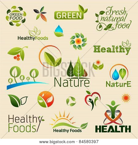 Organic product logos and emblems