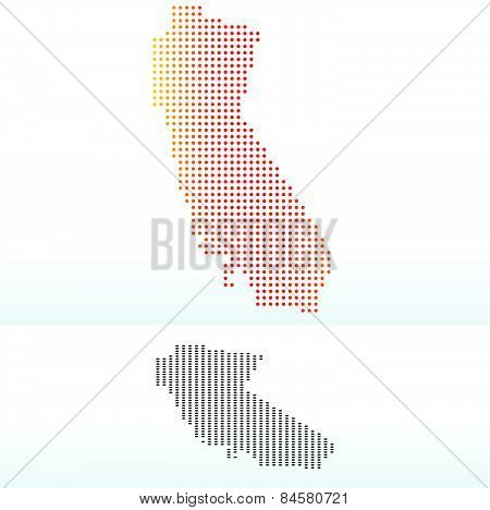 Map Of Usa California State With Dot Pattern
