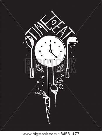 Time to Eat Sign and Label Monochrome Design on Black