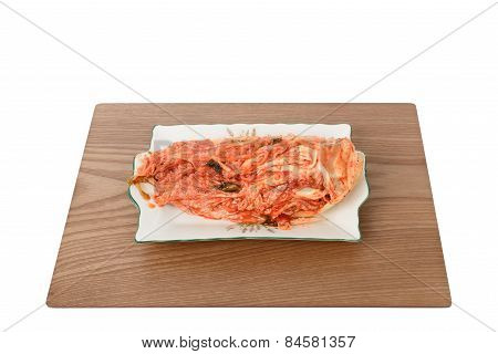 Uncut Gimchi On A Plate