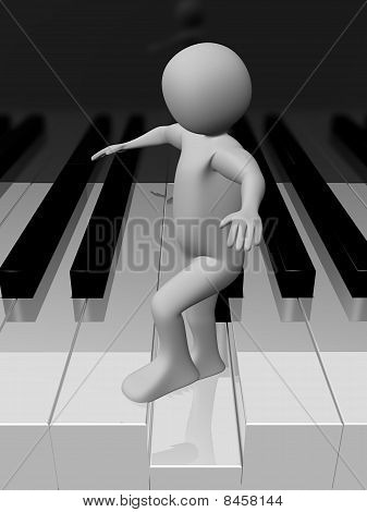 Man Walking On The Piano