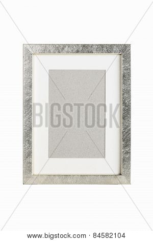 Old Silver Picture Frame With Cardboard Matte, Isolated On White