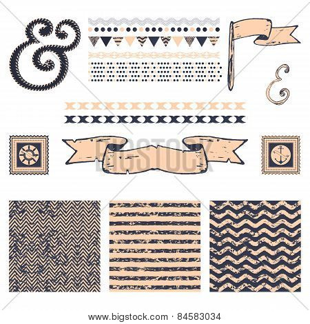 Set of 3 marine abstract seamless pattern and design elements
