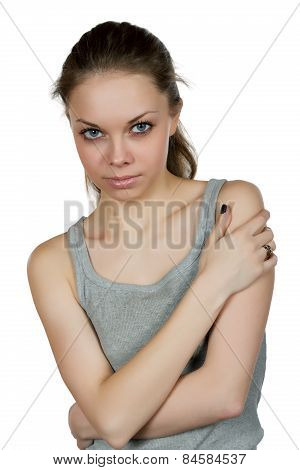 Portrait Of The Girl With  Big Eyes On A White Background