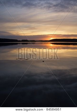 Lake With Reflected Sky In Water