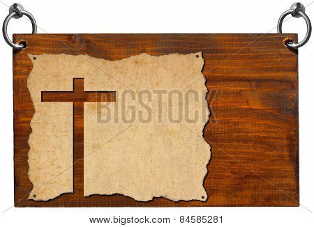 Christian Signboard - Parchment With Cross