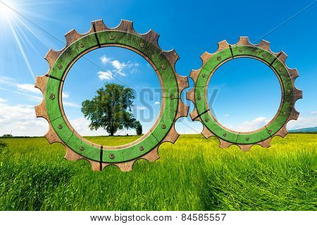 Green Economy - Gears In Countryside