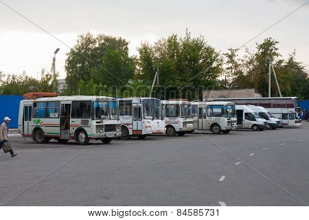 Small Busses In A Bus Station