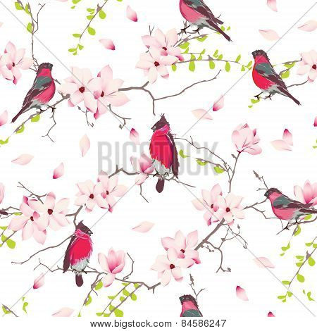 Red bullfinches on the magnolia tree vector seamless print