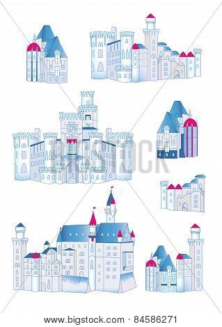 Winter medieval castles design vector elements