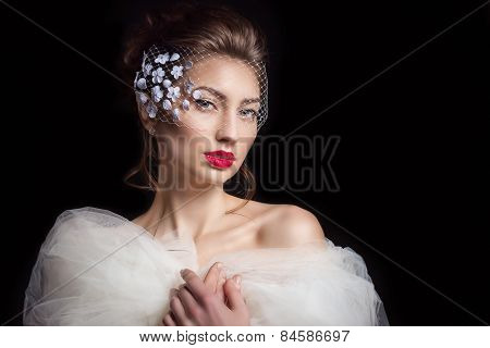 beautiful sexy elegant woman bride with red lipstick with a beautiful stylish hairstyle with veil