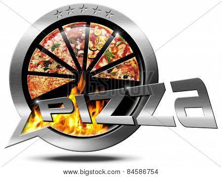 Pizza - Metallic Speech Bubble
