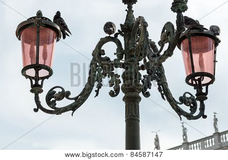 Beautiful Venetian Ornate Lampposts With Pink Murano Glass.