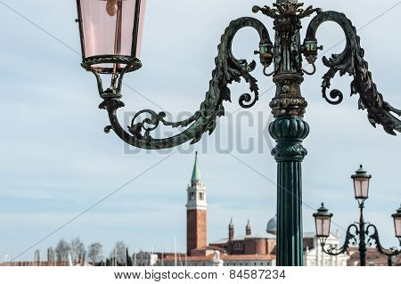 Lampposts On The Background Of The Church San Giorgio Maggiore