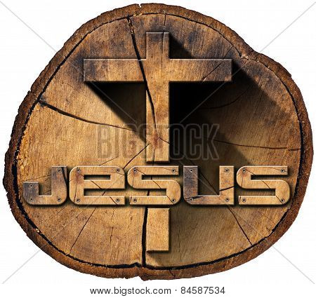 Wooden Cross On Tree Trunk