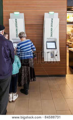 Self Service Terminal In Mcdonald's Restaurant
