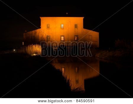 The Red House Before Sunrise