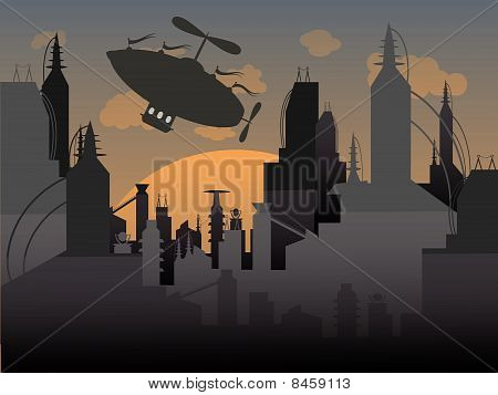 Airship flies away from a futuristic urban city