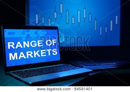 Computer with words Range of Markets.