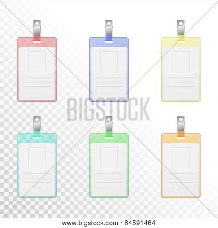 Set Of Transparent Colorful Vertical Identification Cards