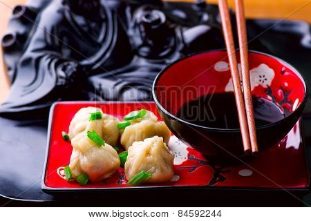 Wontons. Chinese Cuisine.