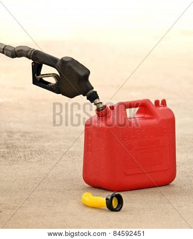 Gas Nozzle Pumping Gas Into Container