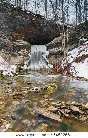 Porter Cave Falls In Winter