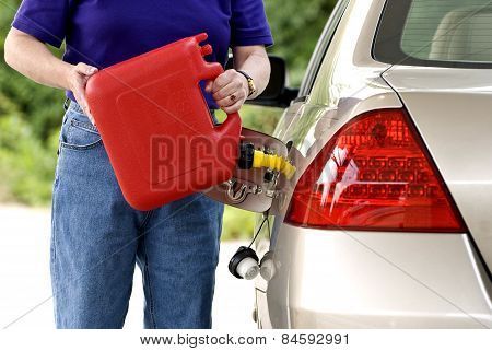 Adding Gasoline To Car Gas Tank