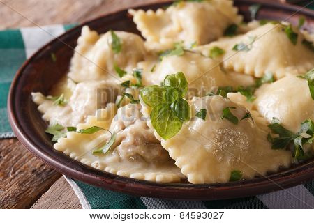 Hot Ravioli Closeup On A Plate. Horizontal, Rustic Style
