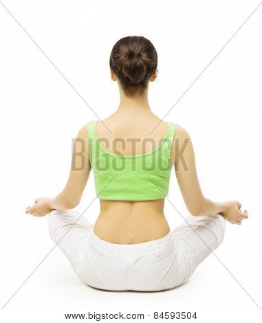Yoga Back Side, Woman Meditating In Lotus Position. Female Rear View, Meditation Isolated Over White