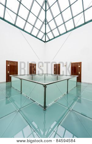 Modern Building Interior With Glass Roof
