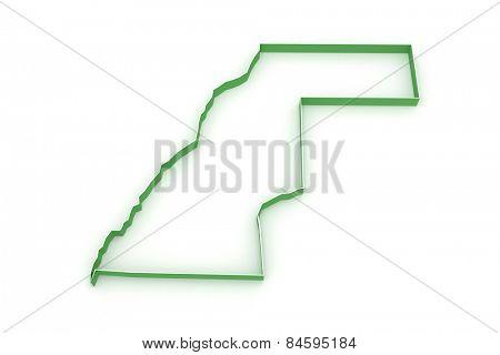 Map of Western Sahara. 3d