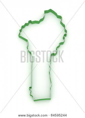 Map of Benin. 3d
