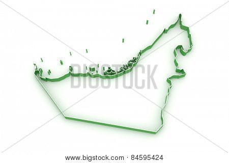 Map of United Arab Emirates (UAE). 3d