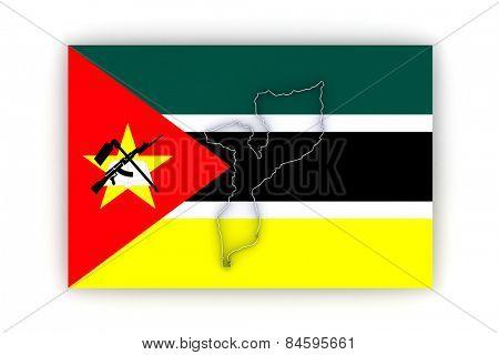 Map of Mozambique. 3d