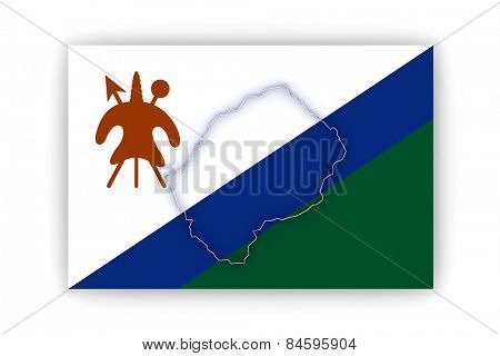 Map of Lesotho. 3d