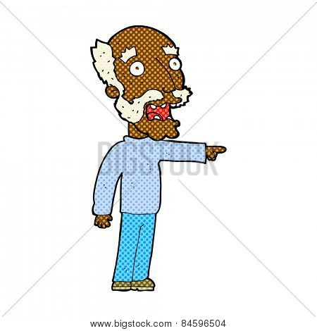 retro comic book style cartoon scared old man pointing