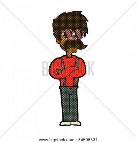 retro comic book style cartoon hipster man with mustache and spectacles