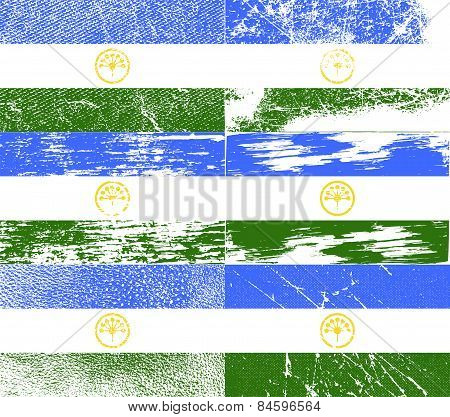 Flag Of Bashkortostan With Old Texture. Vector