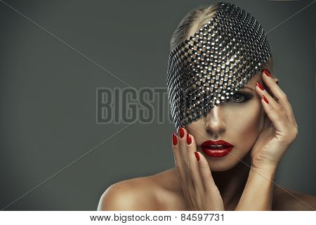 Sexy Strict Woman With Red Lips And Metal Decor