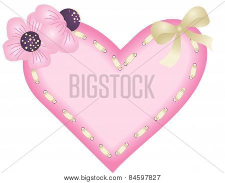 Heart with ribbon and flowers