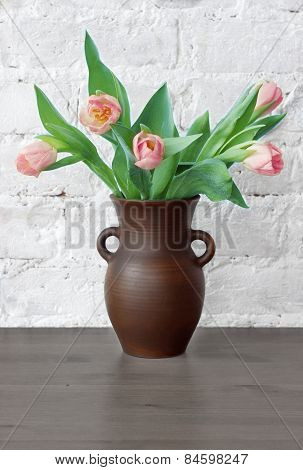 Pink Tulips In A Jug